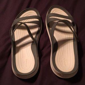 CROCS Shoes - EUC Crocs Gray & White